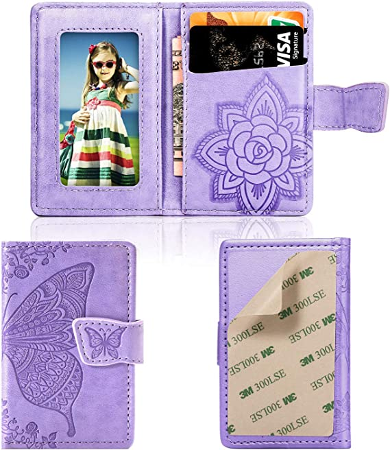Cmeka Cell Phone Wallet,Credit Card Holder for Back of Phone Pocket 3M Adhesive Sticker Card Pouch Sleeve for iPhone/Samsung Galaxy/Sony/Android and Most Smartphones (Purple-Butterfly)