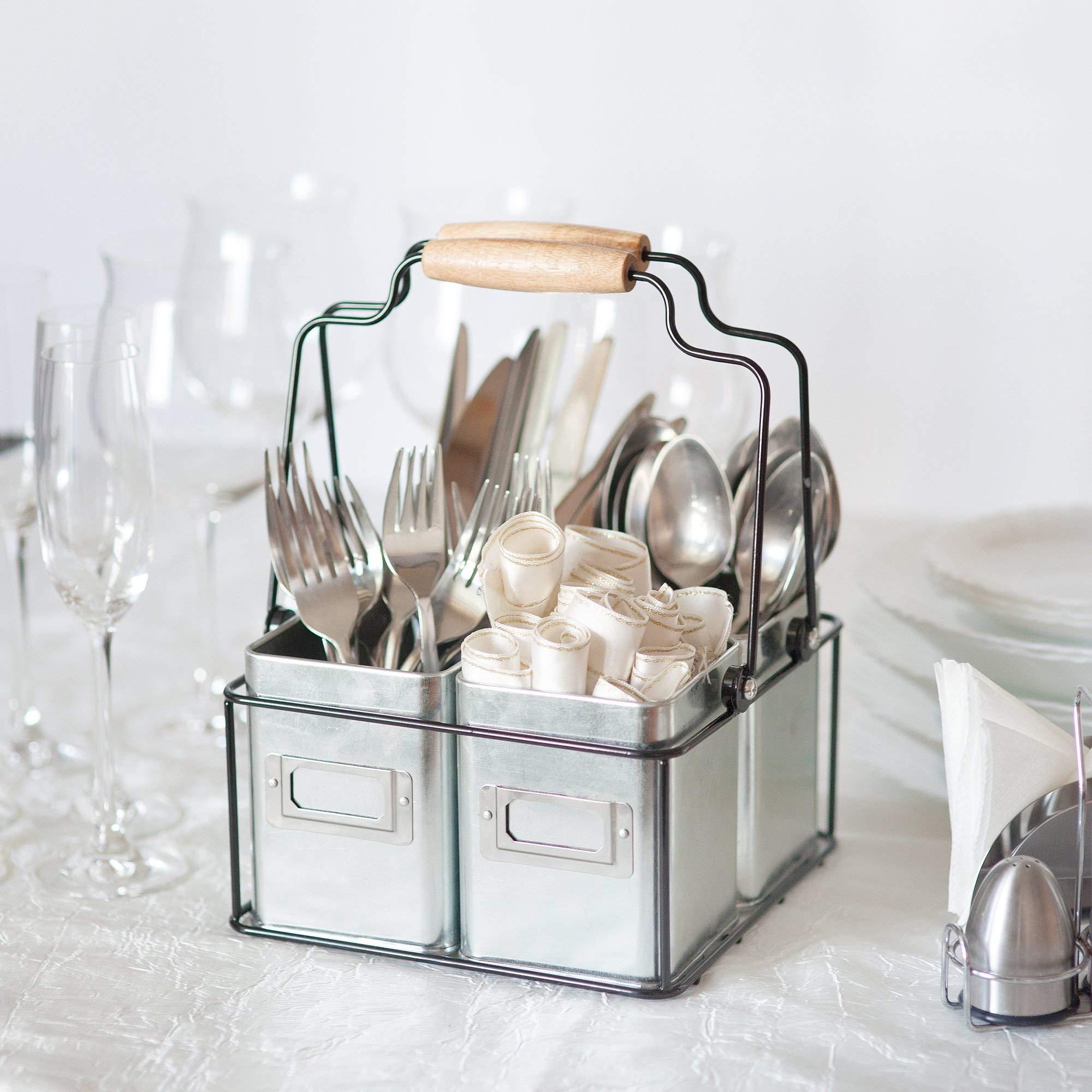 Kenley Galvanized Tin Caddy - Utensil Holder Organizer for Kids & Art Supplies, Kitchen Silverware, Napkins, Flatware, Condiments - Farmhouse Vintage Rustic Décor Picnic Tray with Handles & Metal Bins