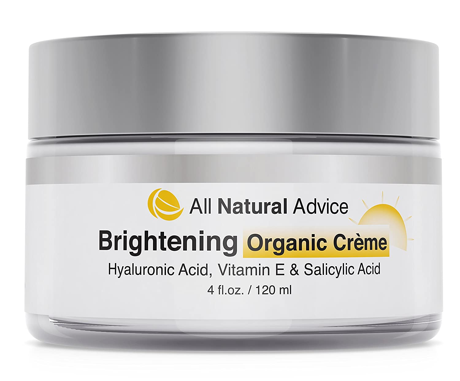 All Natural Advice Brightening CREAM with Hyaluronic & Kojic Acid | Canadian Made | Natural Skin Whitening Cream for Discoloration, Hyperpigmentation | Diminish Blemishes, Tone Skin, Reveal Radiance | 120 ml | DOUBLE THE SIZE