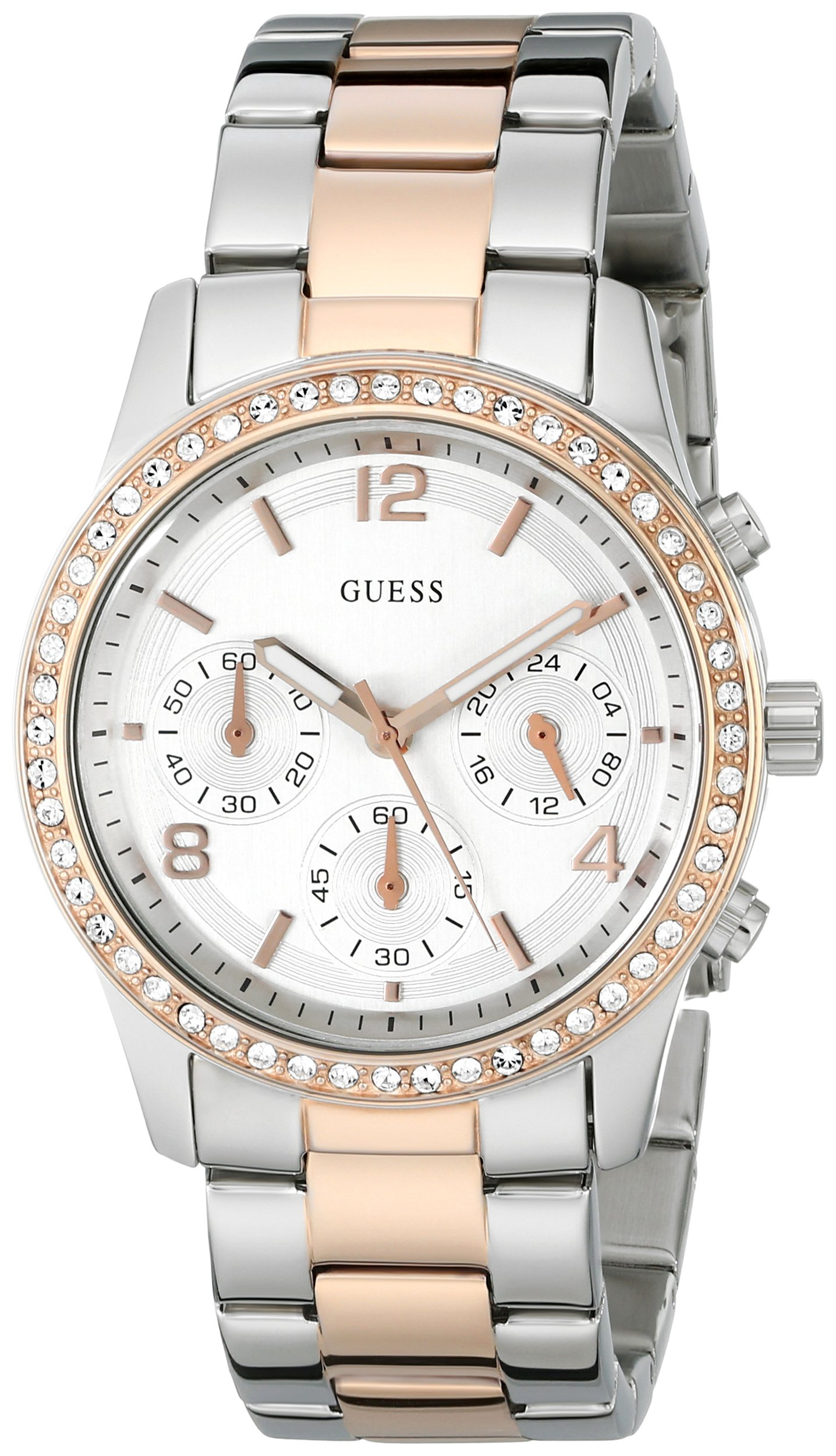 Guess U0122L1 chronograph silver dial stainless steel bracelet women watch NEW