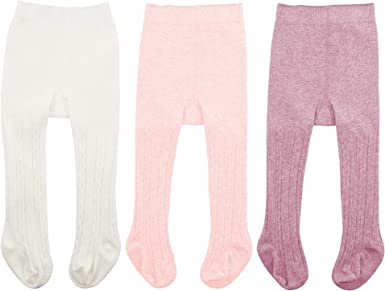 Epeius Baby Girls Seamless Cable Knit Tights Cotton Leggings Pack of 3//6
