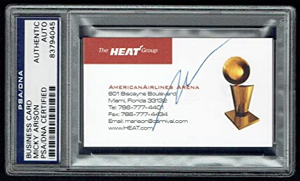 Micky Arison Signed Autograph Auto Business Card Miami Heat Owner