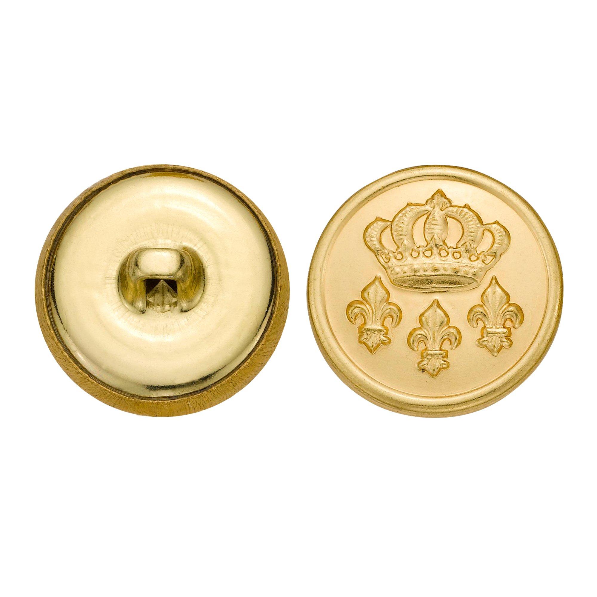 C&C Metal Products 5295 Crown And Fleur De Lis Metal Button, Size 33 Ligne, Gold, 36-Pack