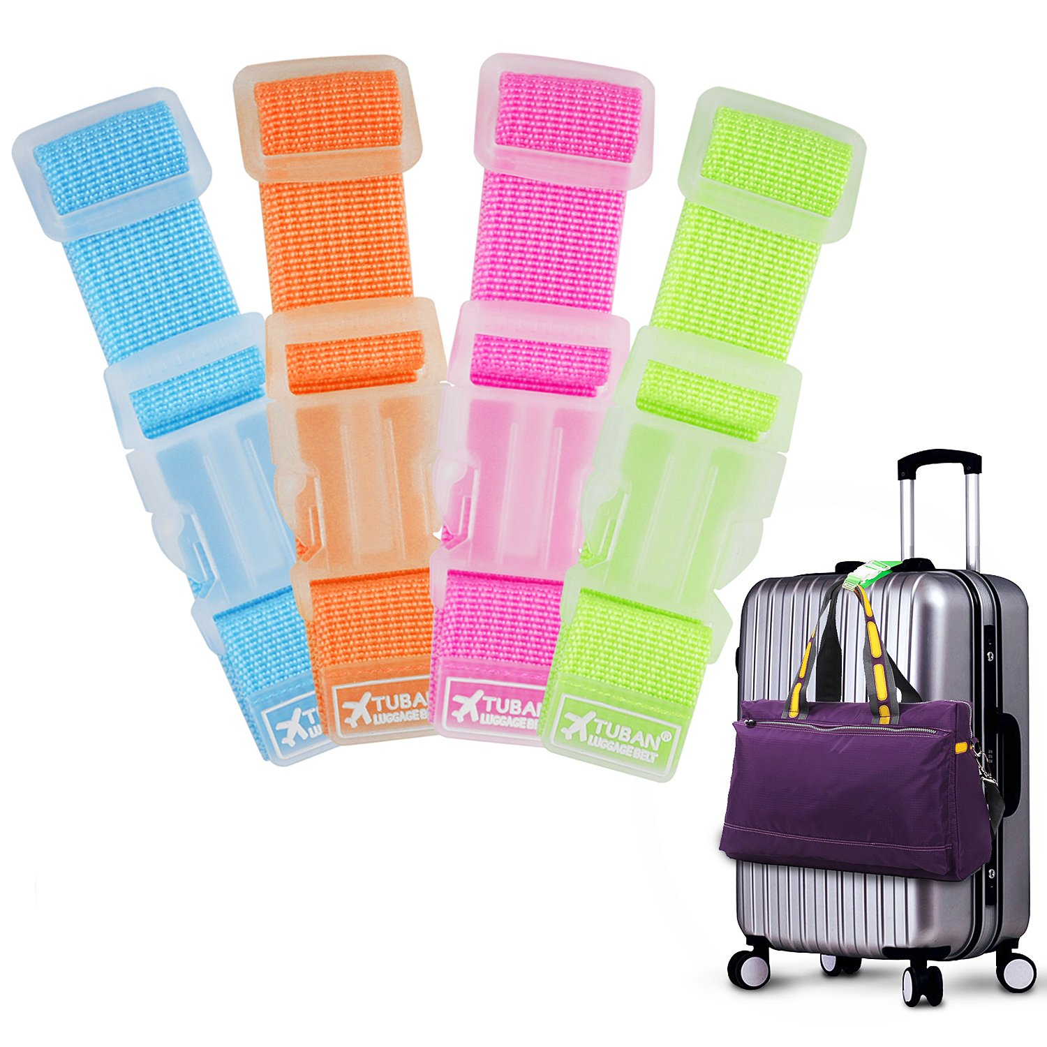 4 Pcs Travel Add a Luggage Straps Hands Free Suitcase Belt for Connect Bags Together