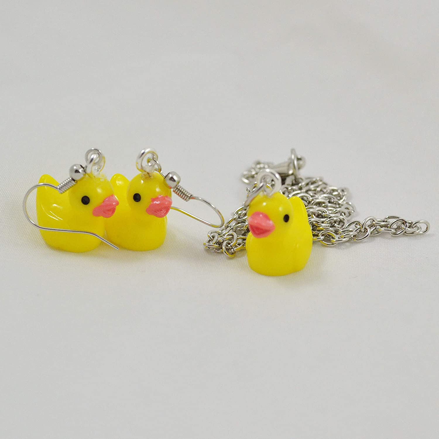 Cute Yellow Rubber Duck Duckie Earrings and Necklace