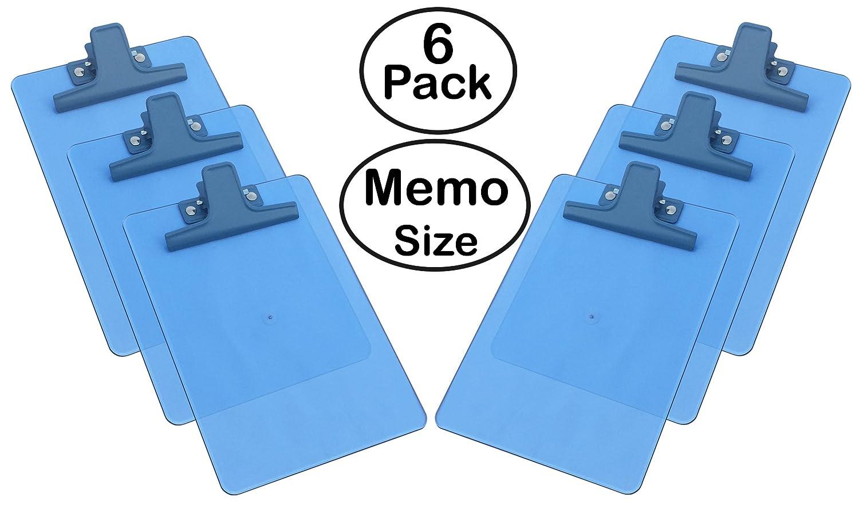 Acrimet Clipboard Memo Size A5 (9 1/8 x 6 1/4) Premium Metal Clip (Plastic) (Blue Color) (6 Pack) 120.4