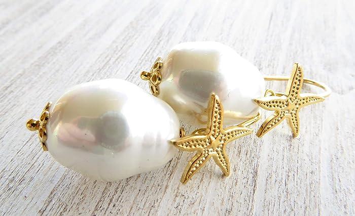 d12bd31fc51c Pendientes de perlas barrocas blancas y plata de ley 925 bañado en ...