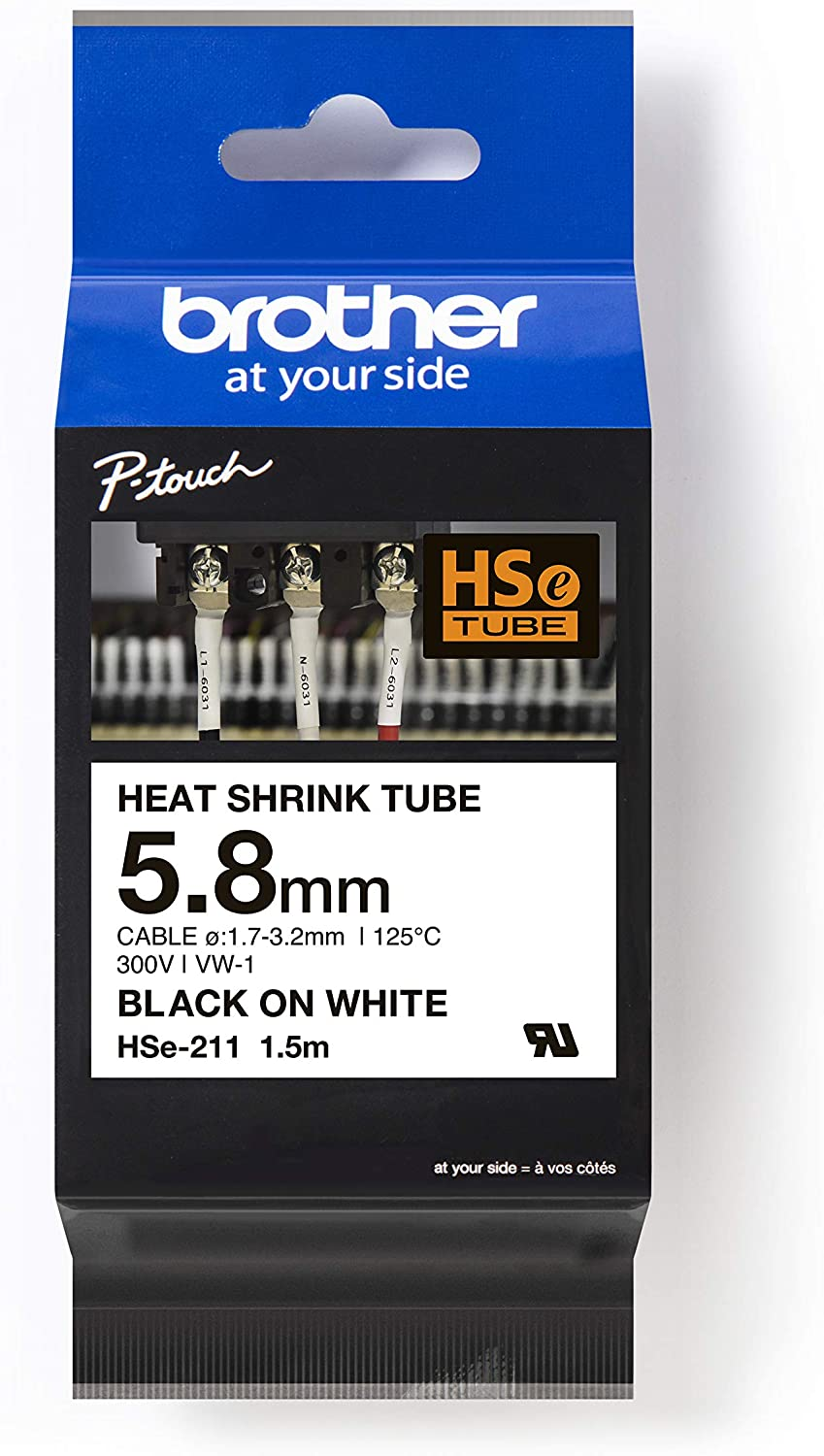 COMPATIBLE HEAT SHRINK SLEEVING TUBING FOR BROTHER P-TOUCH 12mm 231 BLACK WHITE