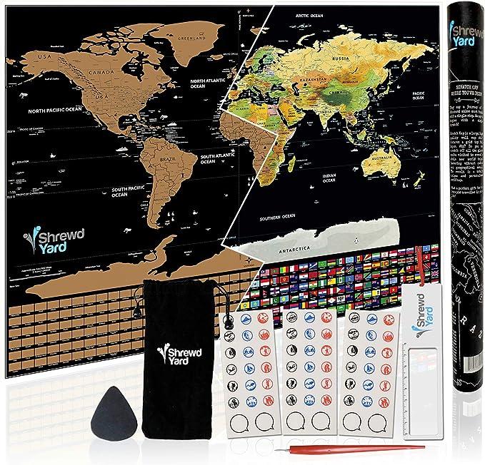 Póster grande de ShrewdYard con mapa de viaje del mundo, rascador ...