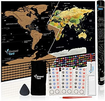 Doubleer Scratch Off Map Of The World Travel Map Poster Easy Scratching Gold Foil With Country Flags