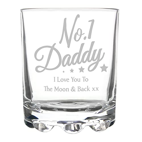 NO 1 Daddy I Love You To The Moon And Back Whisky Glass Tumbler Gifts Gift