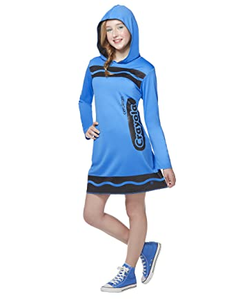 Spirit Halloween Tween Sparkle-Print Hooded Crayon Costume - CrayolaCerulean BlueM  sc 1 st  Amazon.com : tween crayon costume  - Germanpascual.Com