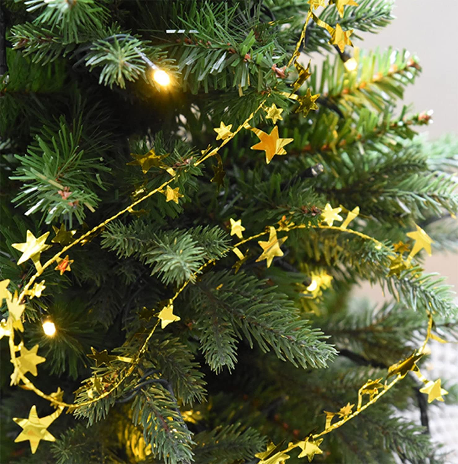 Amazon.com: Yesier 25 FT Star Tinsel Garlands with Wire Christmas ...
