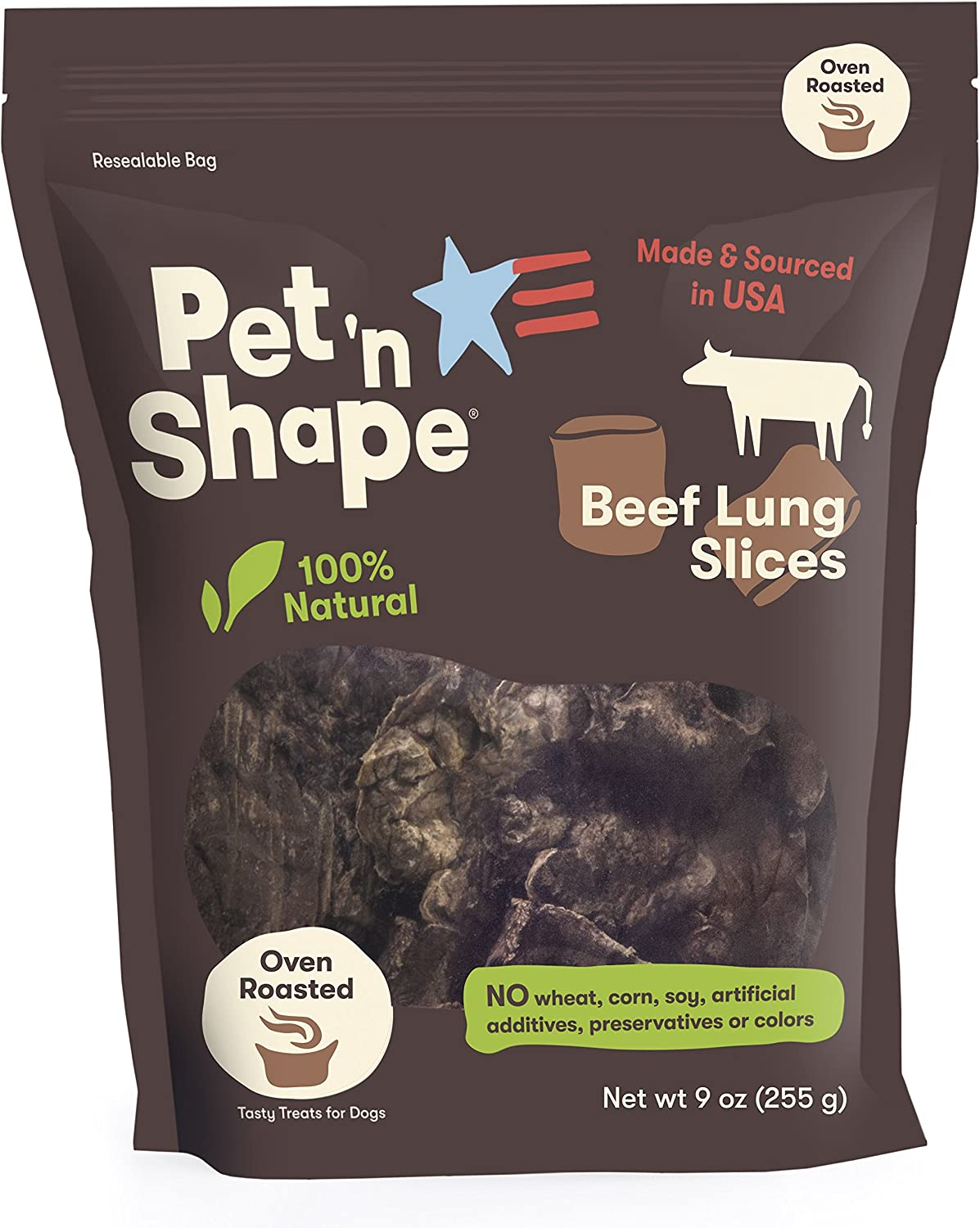 Pet n Shape Beef Lung Dog Treats Made and Sourced in the USA – All Natural Healthy Treat