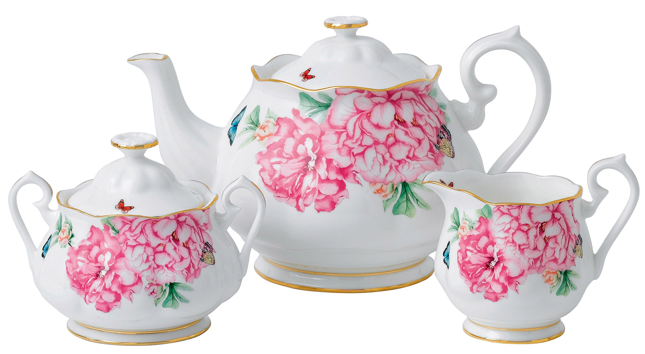 Royal Albert Friendship Teapot, Sugar and Creamer Set Designed by Miranda Kerr
