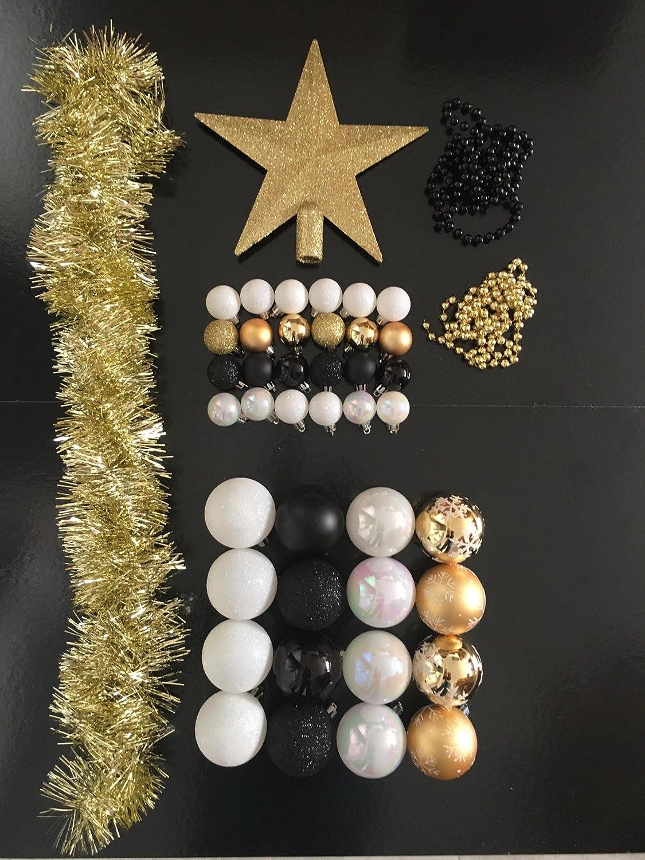 cec8938bc Lote de navidad - Kit 44 piezas para decorar árbol: Guirnaldas, Bolas y  Estrella cima - Tema color: ...