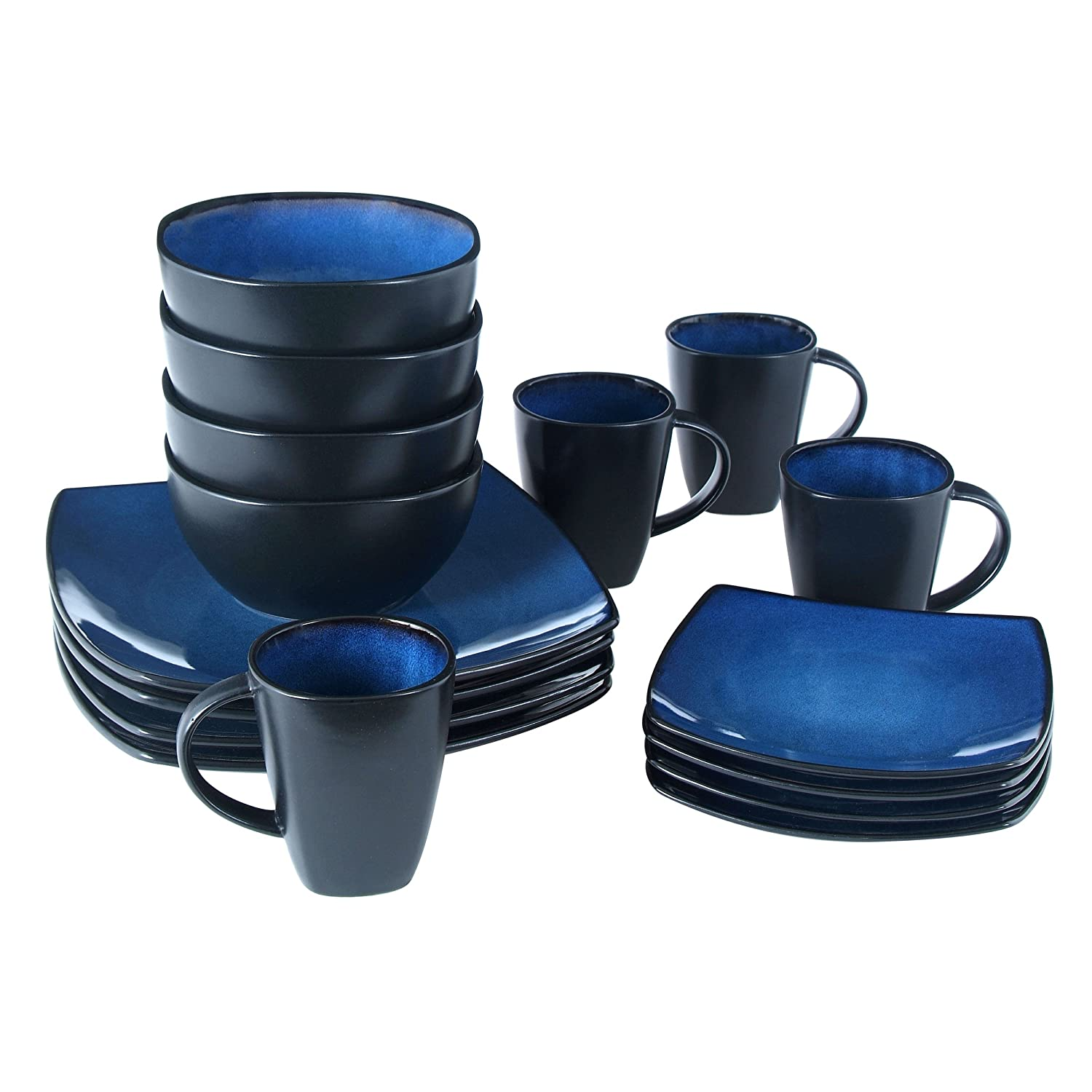 Amazon.com Gibson Bella Soho 16-Piece Square Reactive Glaze Dinnerware Set Blue Kitchen u0026 Dining  sc 1 st  Amazon.com & Amazon.com: Gibson Bella Soho 16-Piece Square Reactive Glaze ...