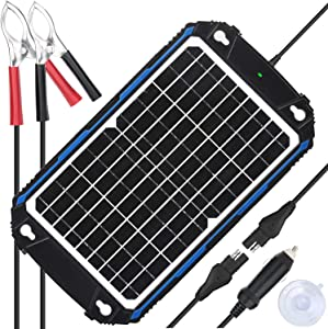 SUNER POWER Waterproof 12V Solar Battery Charger & Maintainer Pro - Built-in Intelligent MPPT Charge Controller - 12W Solar Panel Trickle Charging Kit for Car, Marine, Motorcycle, RV, etc