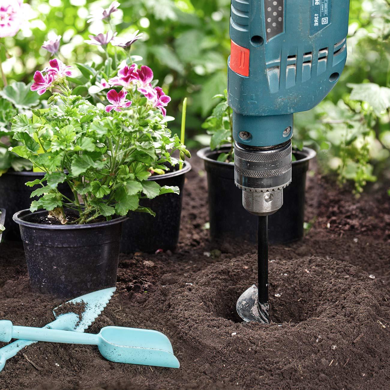 COSYLAND B/êche-tari/ères de jardinage Dia 4cm//Longueur 22cm Auger Foret De Jardin Tariere pour Perceuse M/èche Jardin Tari/ère Jardinage