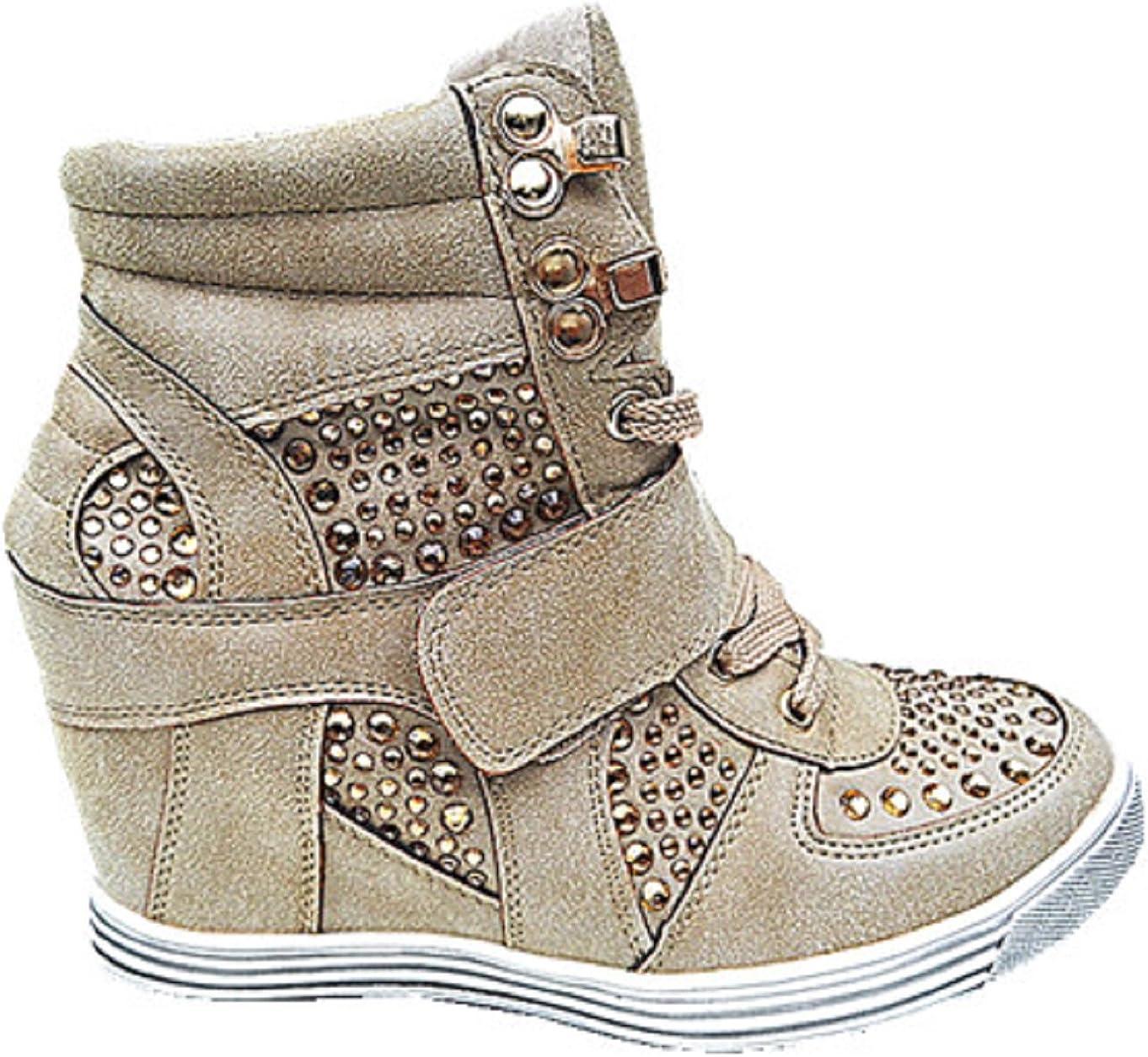fashionfolie Baskets Compensées Montante Talon Chaussures Femme Fille Lacet Taupe 12