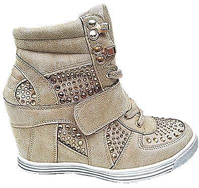 Baskets Compensées Montante Talon Chaussures Femme Fille Lacet Taupe 12 (40) a37e7aaba62c