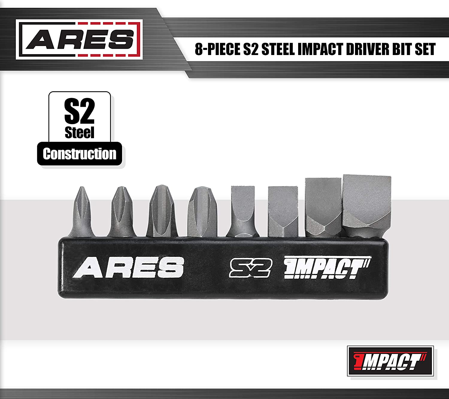 3//8 and 1//2-inch 5//16 Includes Philips 1,2,3,4 and Slotted 1//4 ARES 70013 High Alloy S2 Steel Construction 8-Piece S2 Steel Impact Driver Bit Set