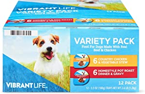 Variety Pack Food for Dogs 6-Homestyle Pot Roast & 6-Country Chicken 12-3.5 Ounce Cups