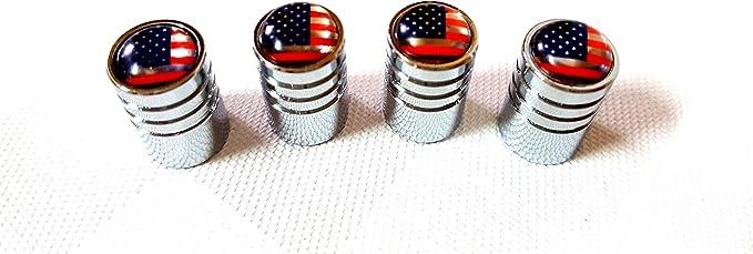 4x Auto Ventilkappe cap Ventilkappen Chrom mit USA Flagge Vereinigte Staaten von Amerika Logo Ventil f/ür alle KFZ PKW LKW Bus Modelle 4er Set