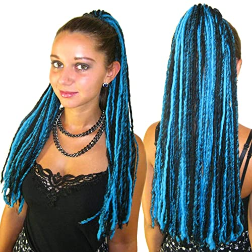 Goth Dread Falls Turquoise Black Yarn Dreadlocks 112 Locs Gothic Belly Dance Hair Falls Goa Fairy Wool Dreads Lightweight Hair Piece Tribal Fusion Hair