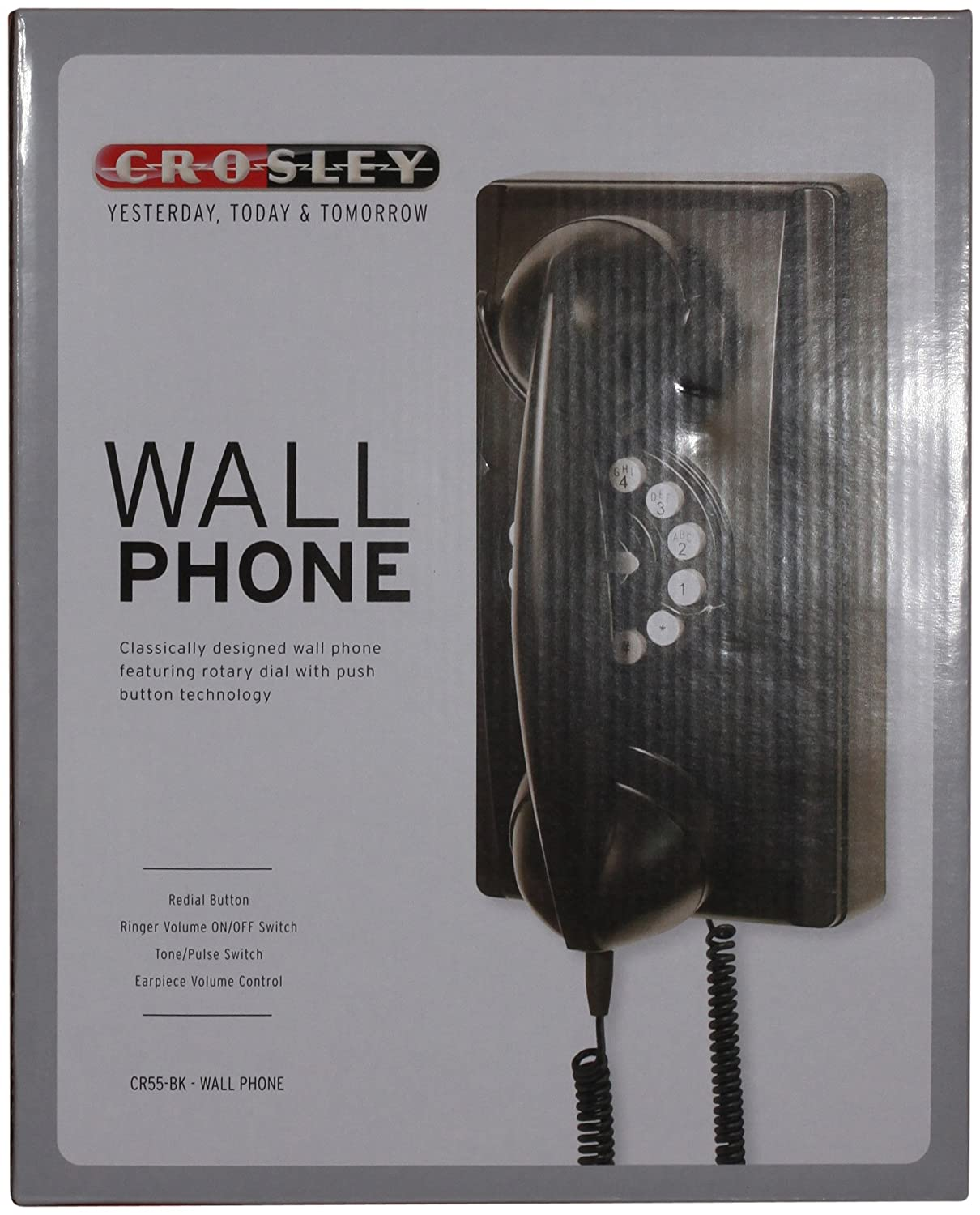 Crosley Cr55 Bk Wall Phone With Push Button Technology Lobor Lb A1312 Dial Swarovski Stainless Black Electronics