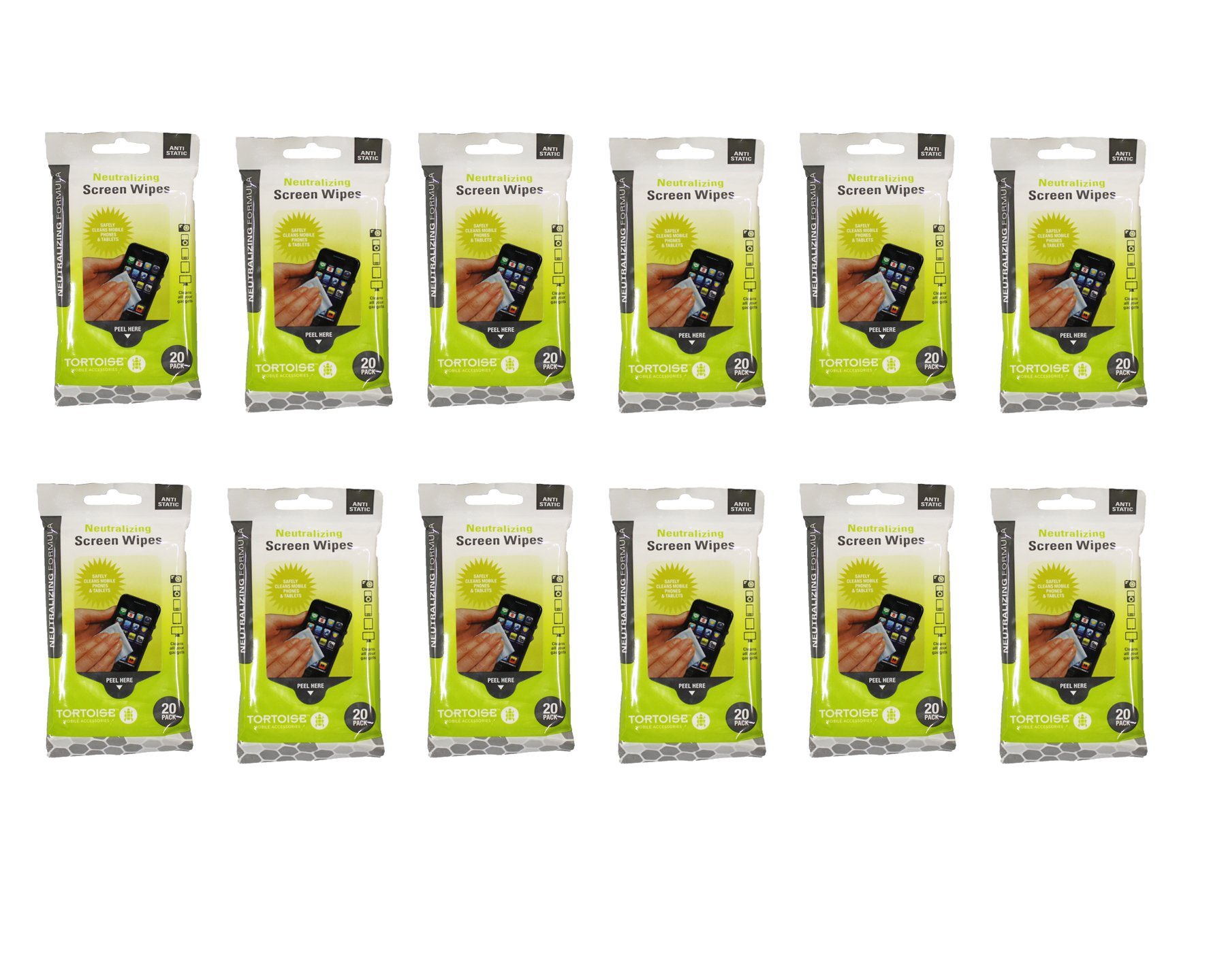 Tortoise (58804-12PK) Neutralizing Formula Screen Wipes, White, 12-Pack by TORTOISE