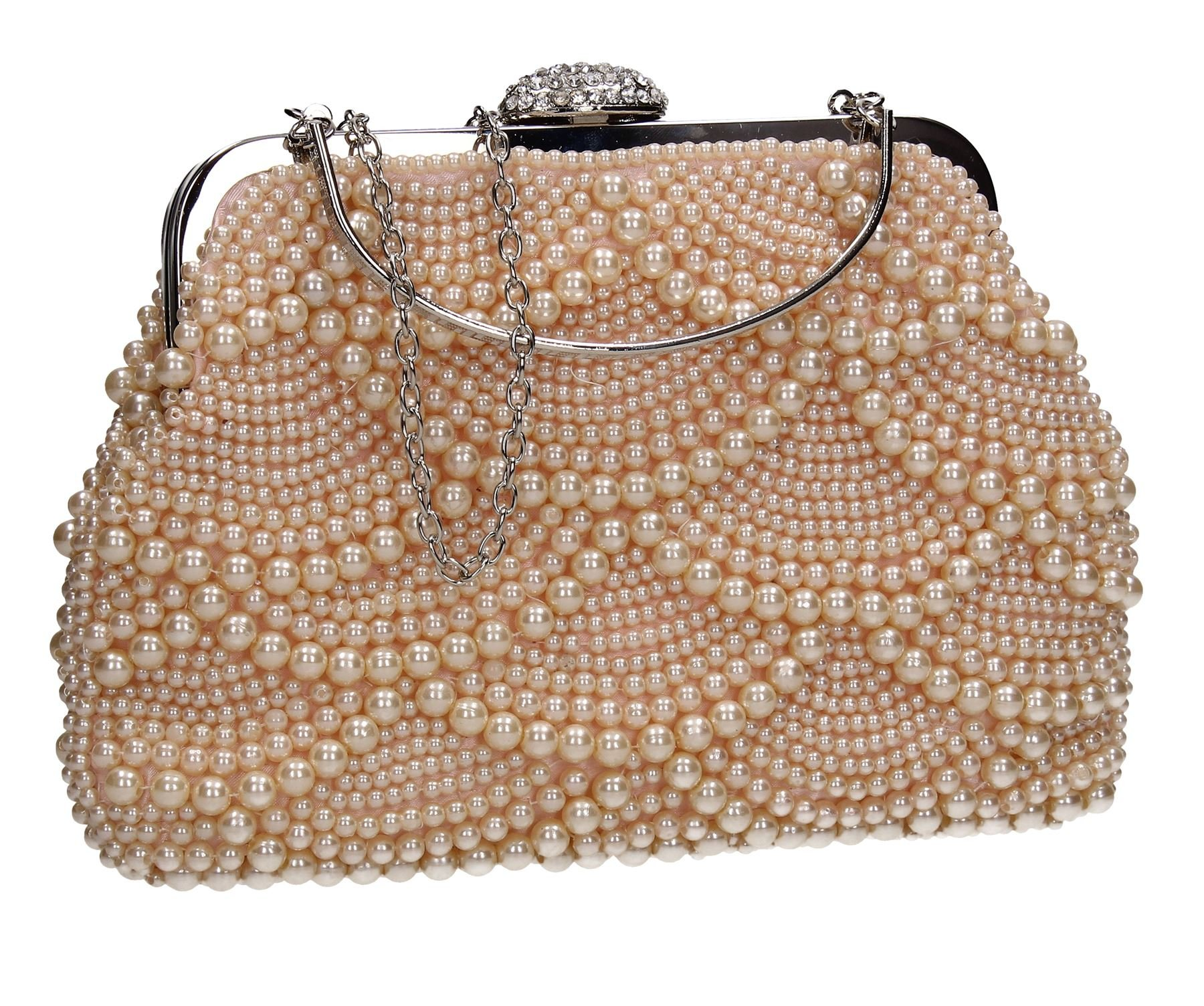 Hailee Beaded Pretty Womens Party Prom Wedding Ladies Clutch Bag - Champagne Gold