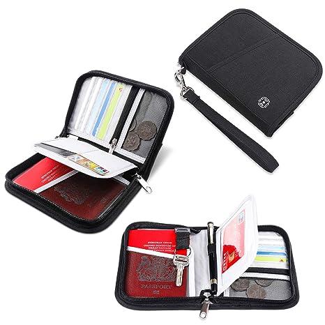 80b15469dcdd Vemingo Family Passport Holder RFID-Blocking Travel Wallet Ticket Holder  Document Organizer with Zipper for Women Men, Fits 2 Passports