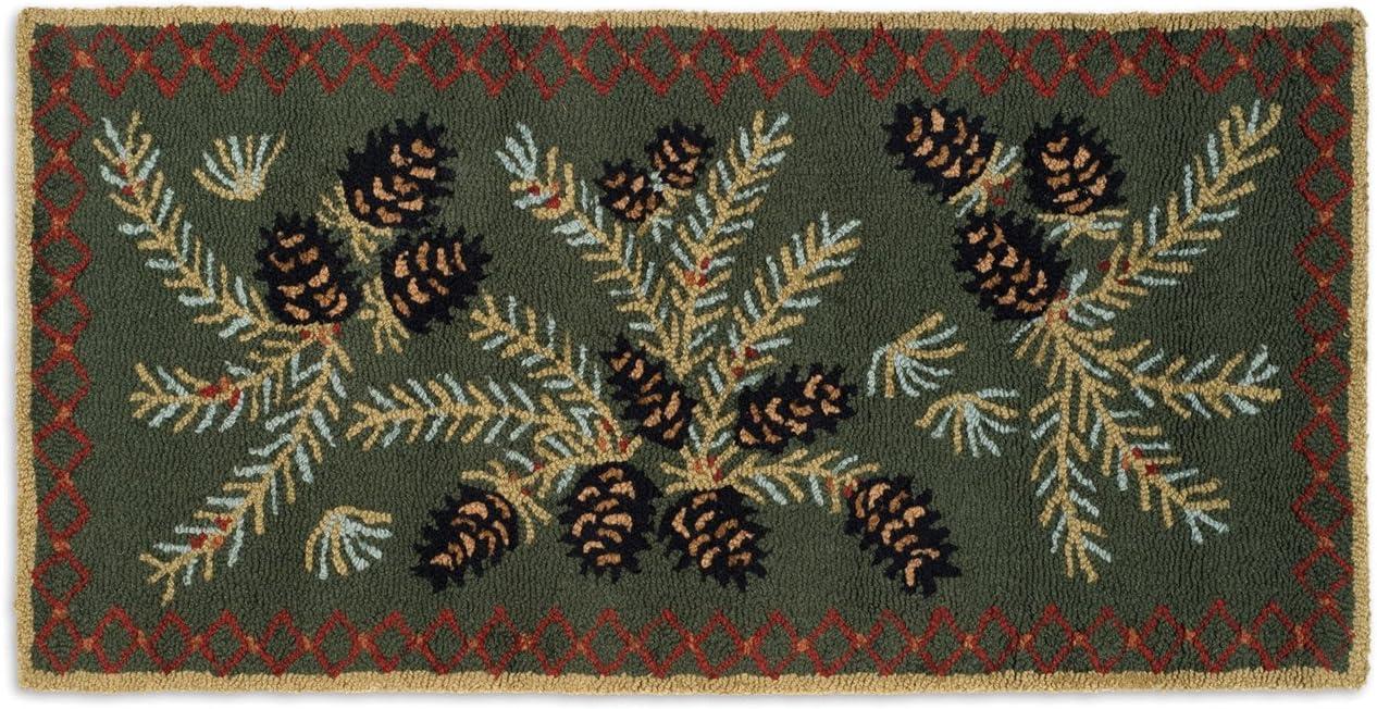 Chandler 4 Corners Beautiful Hand Hooked Wool Rug, Diamond Pinecone Design 2 X4 Rug – 100 Natural Wool