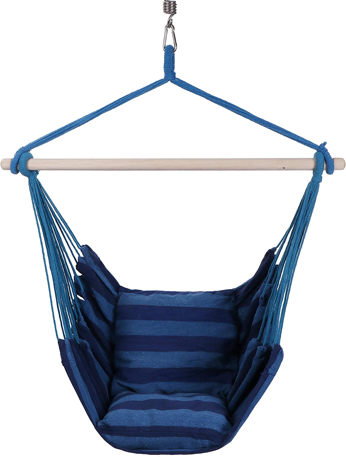KLM Hanging Rope Hammock Chair Swing Perfect Hanging Chair for Bedroom, Porch Swing Hammock Chair, Indoor Hammock Hammock Swing Chair Indoor-Outdoor One Person Swing with Pillows and Hanging Kit