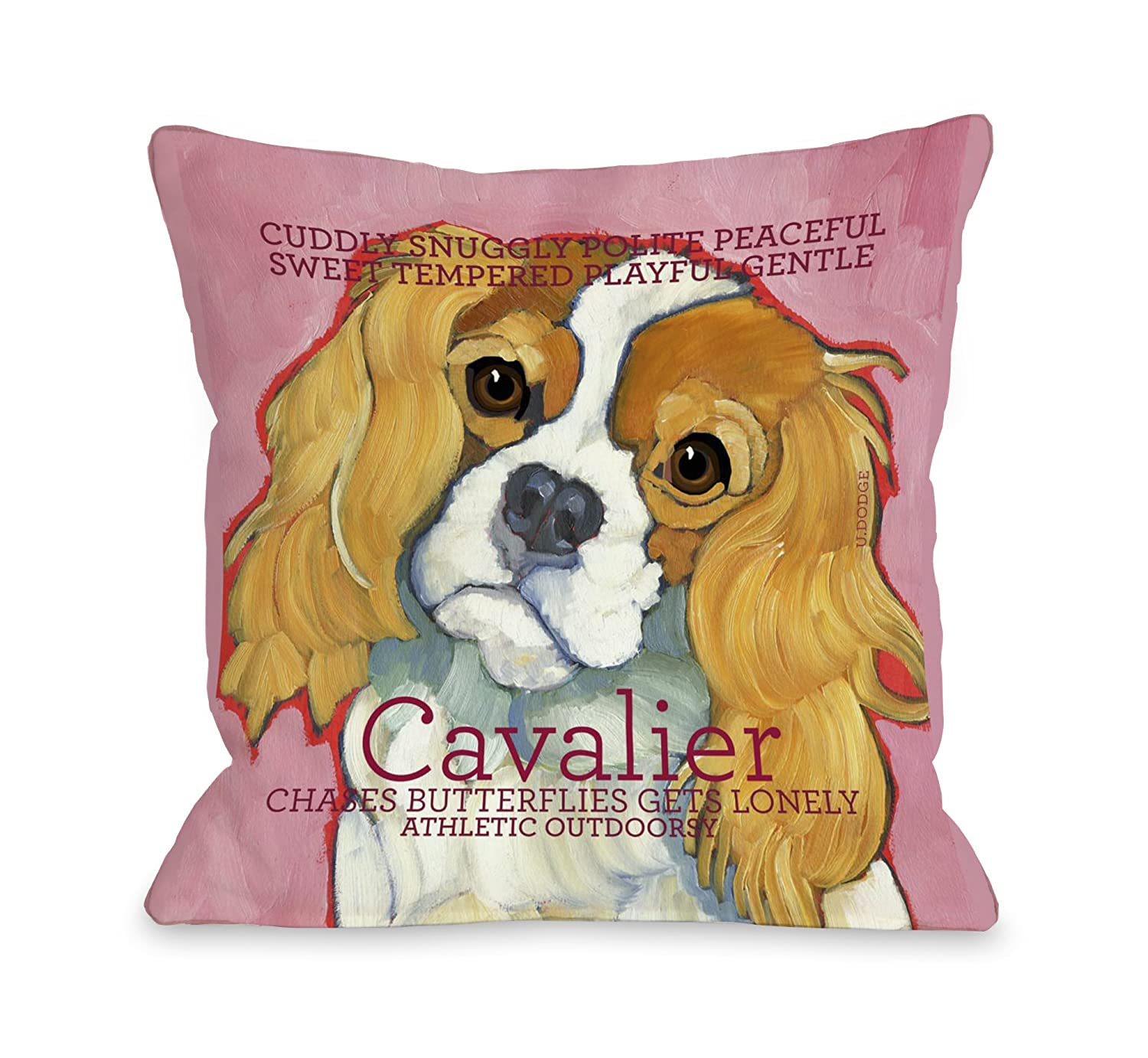 One Bella Casa Cavalier 1 Throw Pillow for Pets, 16 by 16-Inch
