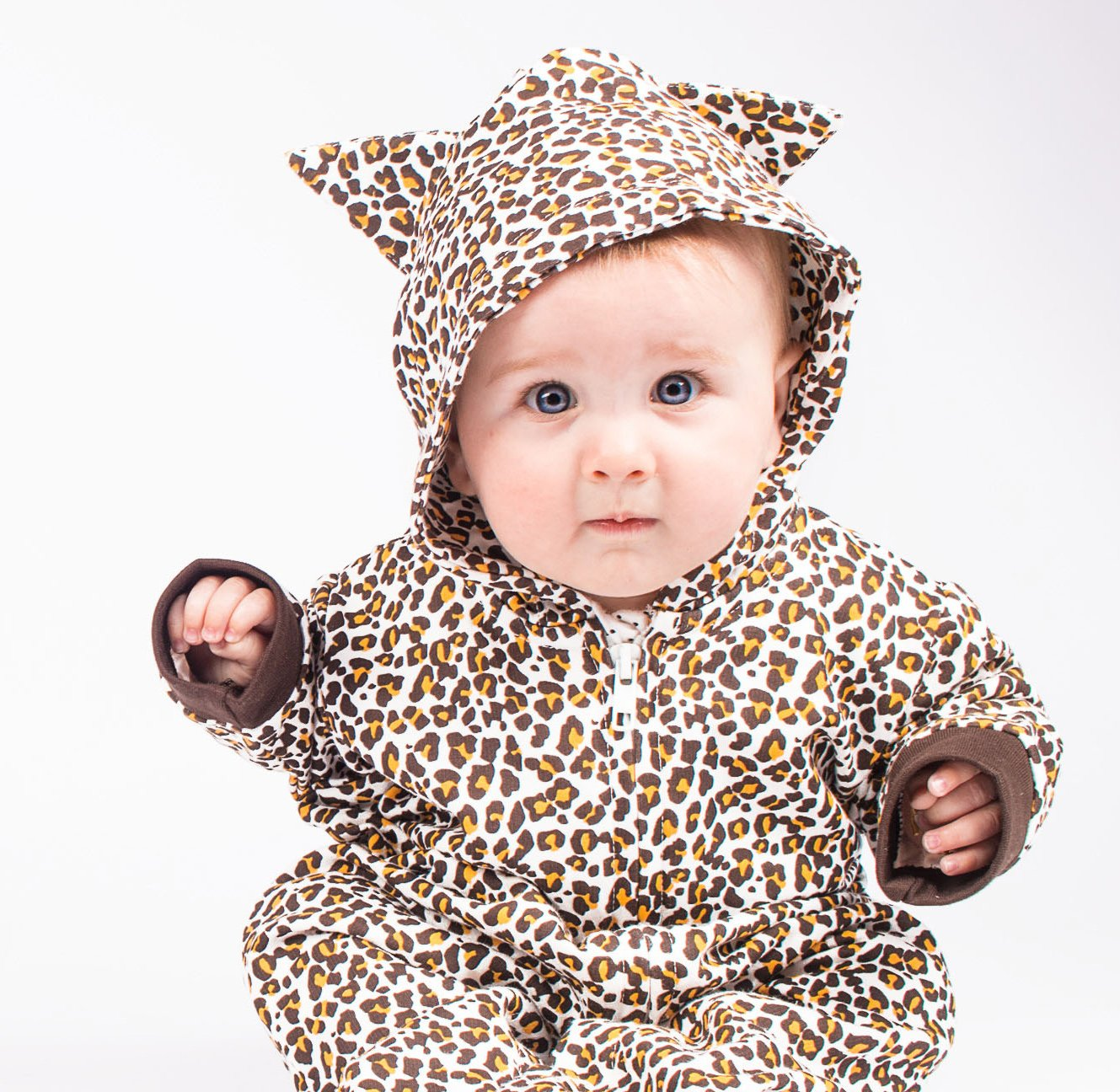 - BABY MOOS UK 0-3 Months Baby Shower Newborn Costume Clothes Boy or Girl Leopard Baby Romper Outfit for Boys or Girls Cute Animal Print Hooded Zip Onesie Suit or 1st Birthday Gift  