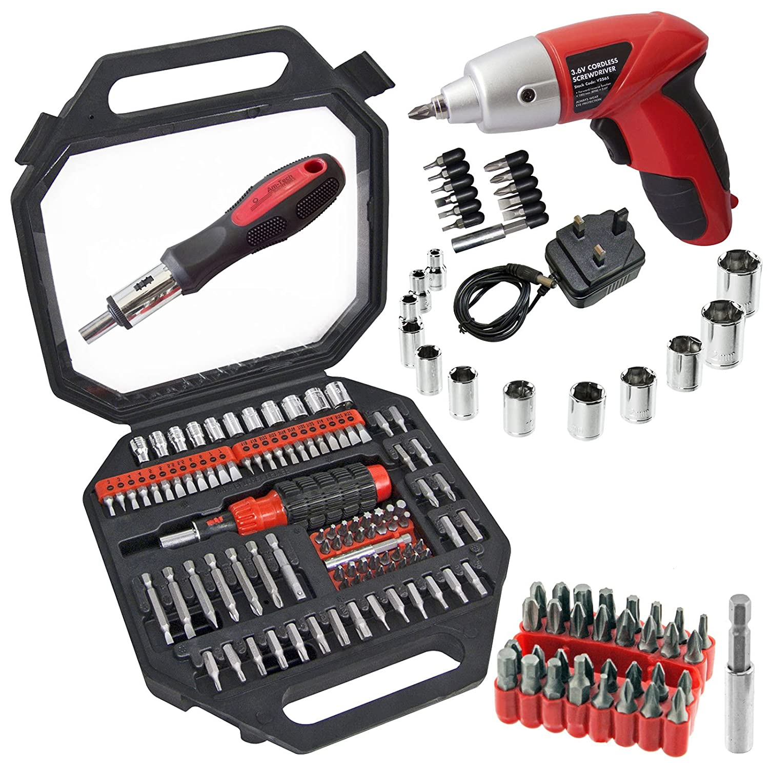 Spares2go Complete Magnetic Screwdriver /& Bit Tool Kit Mini Cordless Rechargeable Electric Screwdriver