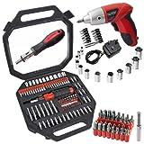 SPARES2GO 100 Piece Complete Screwdriver & Socket Bit Tool Set + Cordless Rechargeable Electric Screwdriver
