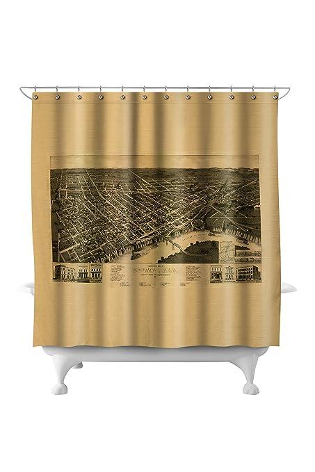 Amazon.com: Selma, Alabama - Panoramic Map (71x74 Polyester Shower ...