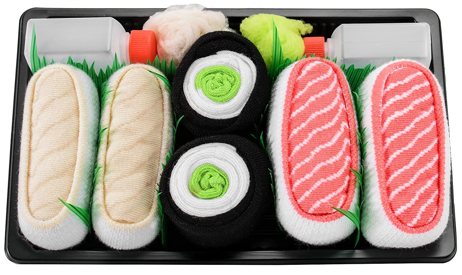 SUSHI SOCKS BOX 3 pairs Butterfish Cucumber Salmon FUNNY GIFT! Made in Europe at Amazon Mens Clothing store: