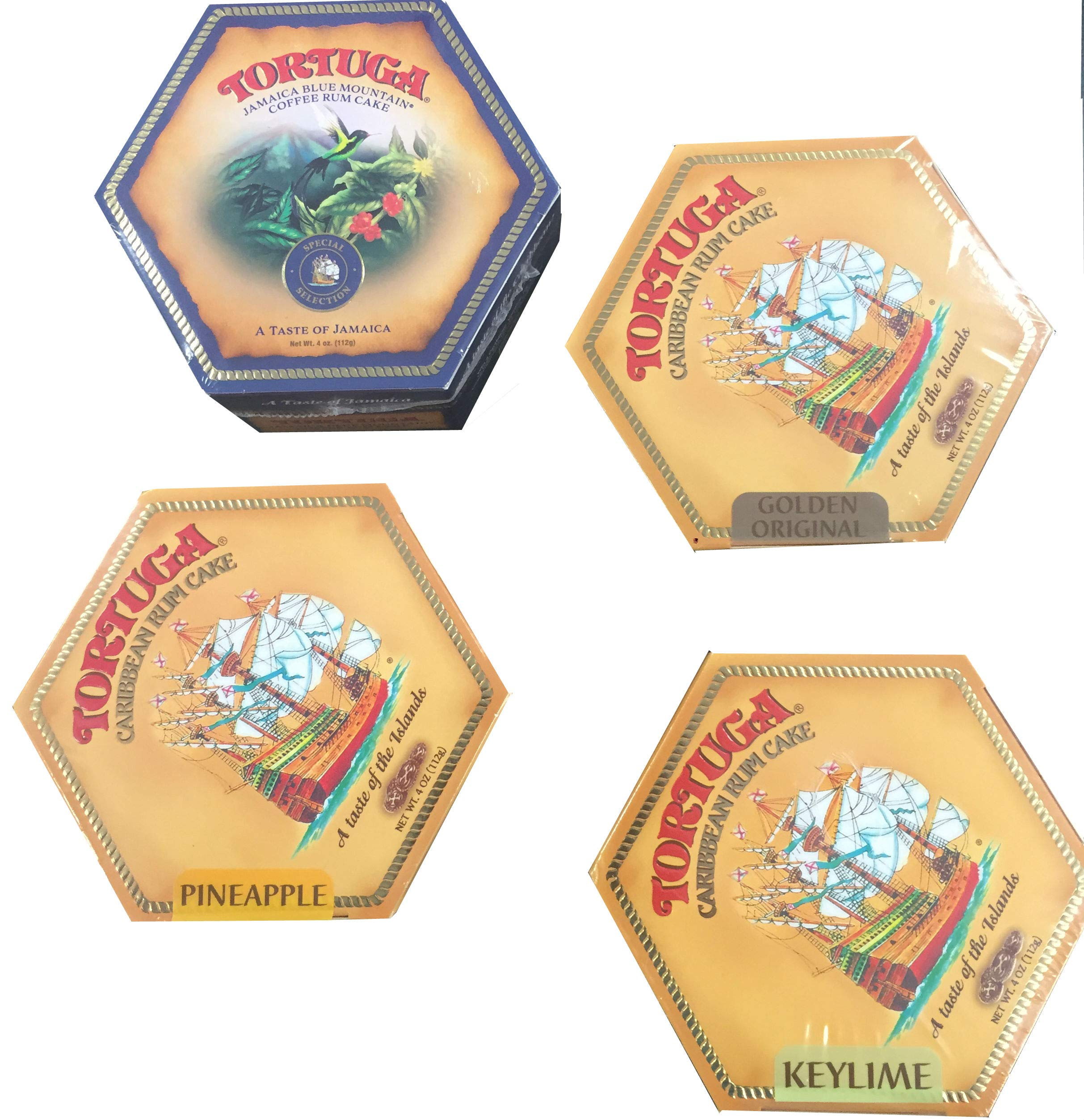 Tortuga Caribbean Rum Cake 4 Pack Assortment- Original, Keylime, Pineapple & Blue Mountain Coffee by Tortuga (Image #2)