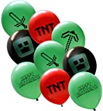 "25 Pixel Style Miner Party Balloon Pack - Large 12"" Latex Balloons"