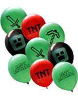 "25 Pixel Style Miner Party Balloon Pack - Large 12"" Latex Balloons (Red-Green-Black - 1 Sided Print)"