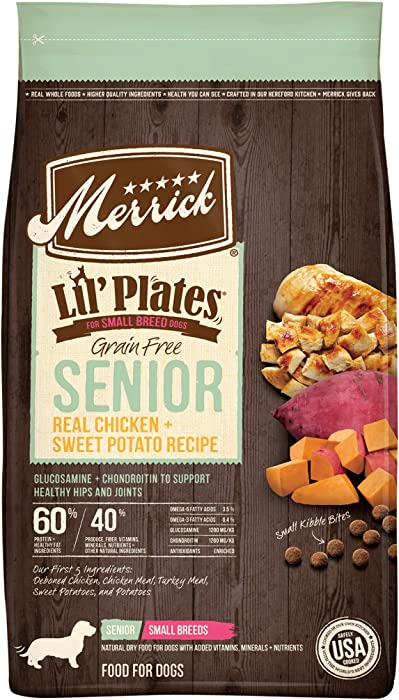 Merrick Lil' Plates Grain Free Small Breed Dry Dog Food Senior Real Chicken + Sweet Potato Recipe - 4 lb Bag