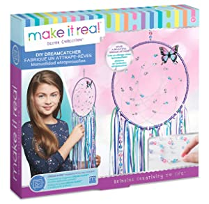 Make It Real – DIY Dreamcatcher. Make Your Own Dream Catcher Arts and Crafts Kit for Tween Girls. Includes Dream Catcher Hoop, Strings and Ribbons, Beads, Butterfly Pin and More