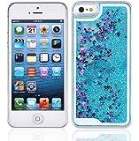 Yoption Transparent Plastic 3D Glitter Quicksand and Star Liquid Case for Apple iPhone 5 5S SE