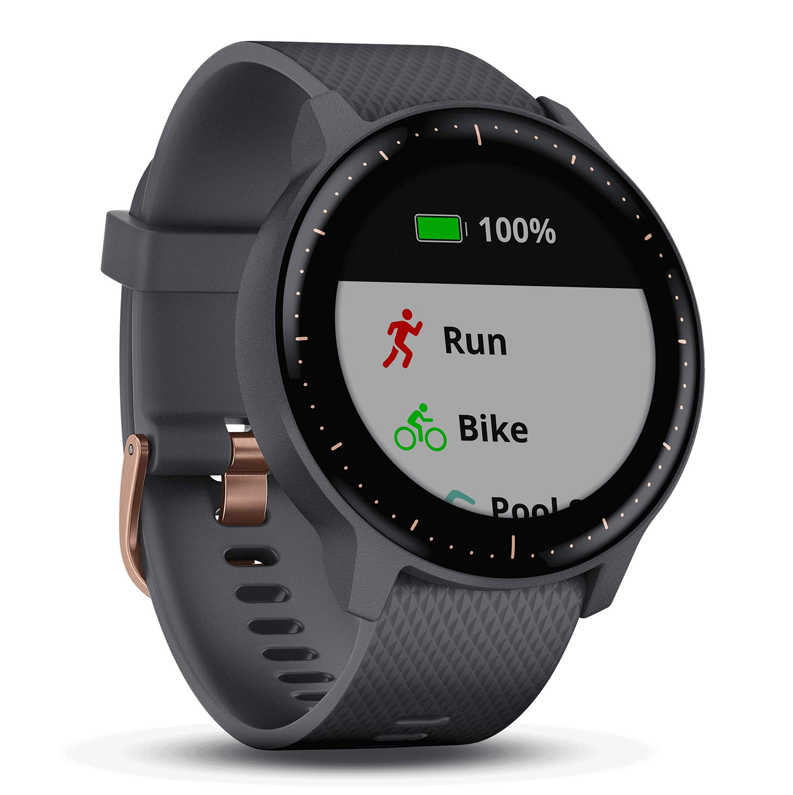 Garmin vivoactive 3 Music GPS Watch Power Bundle   with HD Screen Protectors (x4) & PlayBetter USB Portable Charger   Spotify, Activity/Fitness Tracking, Garmin Pay (Music - Granite Blue/Rose Gold)