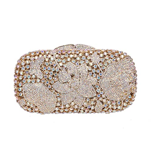 8415e36cbb Fawziya Frog Lotus Rhinestone Clutch Purses Wholesale Bags For Women-AB Gold