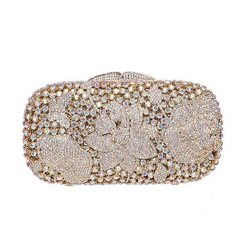 Fawziya Frog Lotus Rhinestone Clutch Purses Wholesale Bags For Women-AB Gold 726a1f3336df